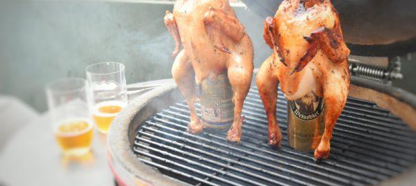 pollo con la birra nel sedere BBQ grill dome