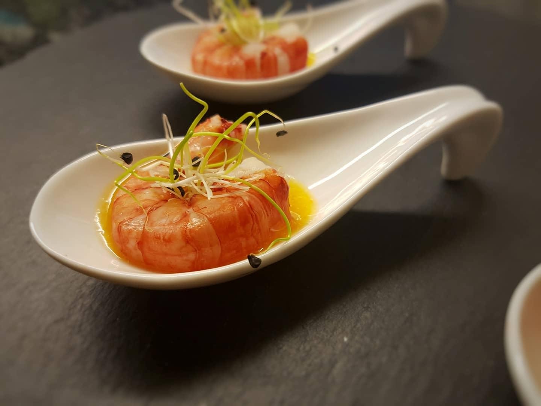 Gamberi rossi di Sicilia con salsa alle albicocche e zenzero