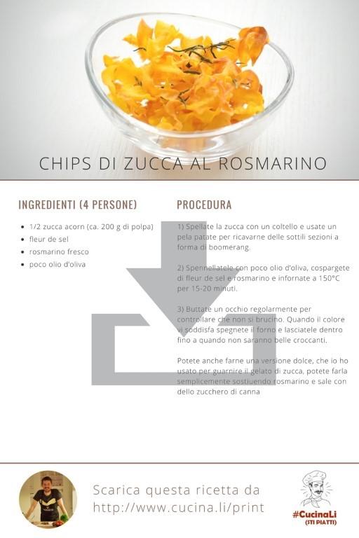 Chips di Zucca al Rosmarino - Ricetta Tascabile