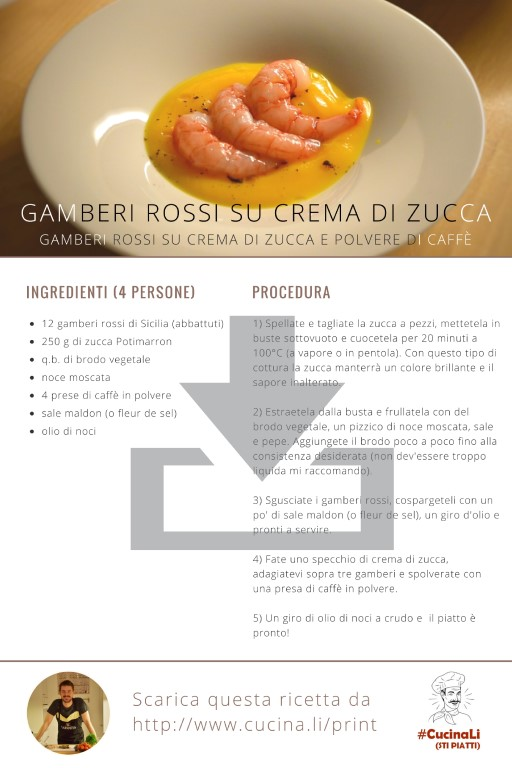 Gamberi Rossi su Crema di Zucca e Polvere di Caffè - Ricetta Tascabile