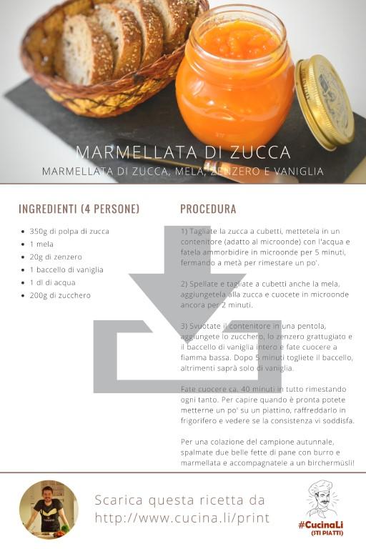 Marmellata di Zucca, mela, zenzero e vaniglia - Ricetta Tascabile