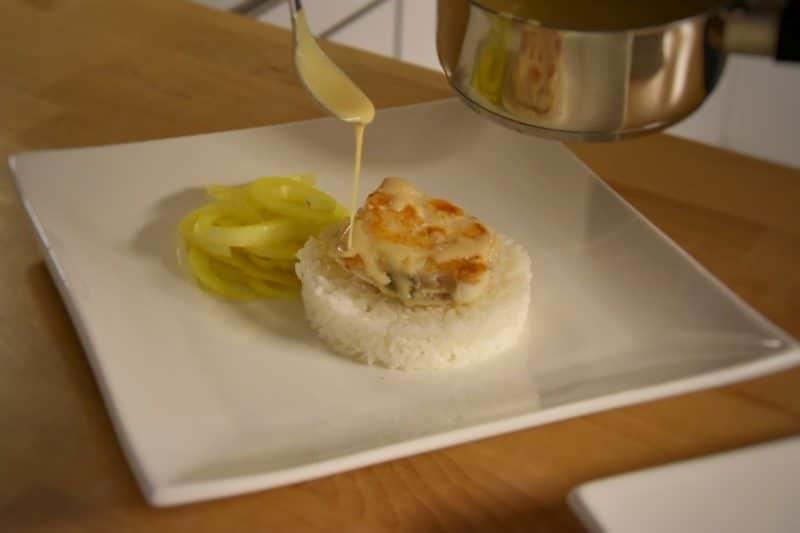 Rana pescatrice, finocchio allo zafferano, riso e riduzione di vermouth