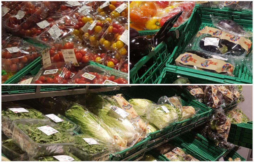 verdure in sacchetti di plastica