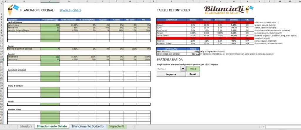 BilanciaLi Home - Schermata bilanciamento del gelato