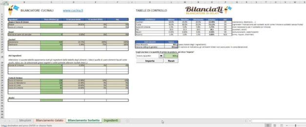 BilanciaLi Home - Schermata bilanciamento del sorbetto