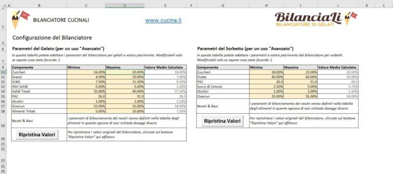 BilanciaLi Pro - Schermata di Configurazione dei parametri di bilanciamento