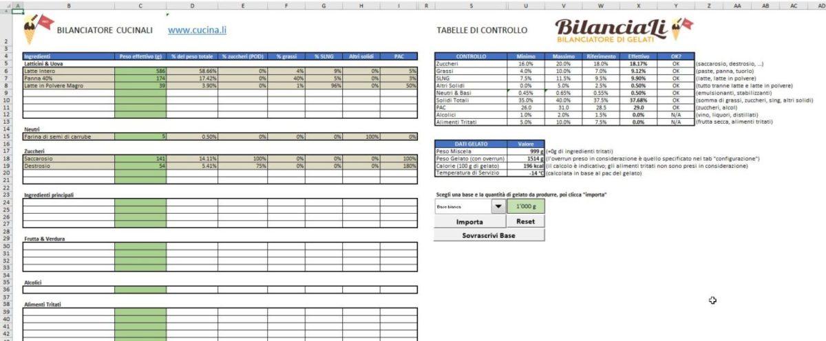 BilanciaLi Pro - Schermata di Bilanciamento del gelato