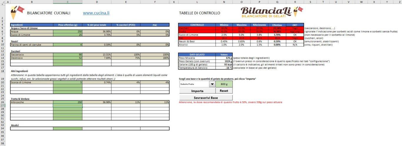BilanciaLi Pro - Schermata di Bilanciamento del sorbetto