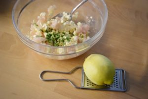 red snapper, feta, scorza di limone, erba cipollina