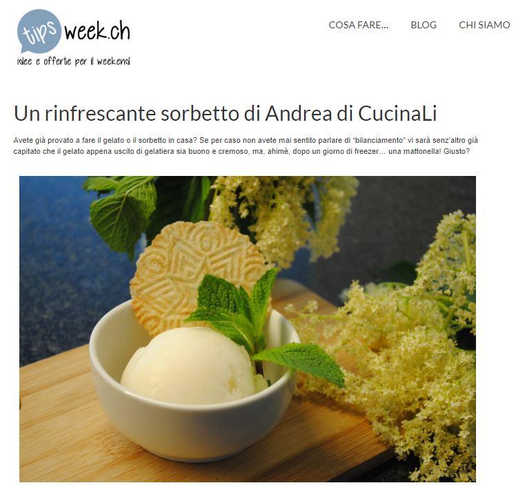 ricetta gelato al sambuco di cucinali su tipsweek.ch
