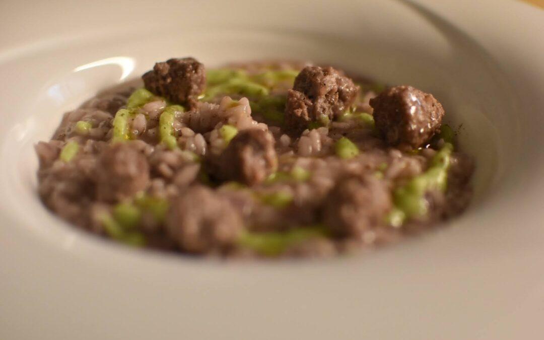 Risotto alla salsiccia di cinghiale e crema di broccoli